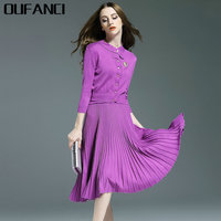 OUFANCI 2017 Autumn Winter Women Dress Suits Elegant Business Office Work Wear Tunics Women Suits Two