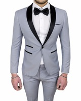 Custom Made One Button Groomsman Wedding Suits For Men Light Gray Best Man Suit Men Groom Tuxedos Prom Suits Jacket+Pants+Tie