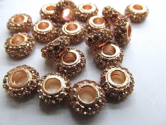 Großhandel 5x12mm 100 stücke rondelle strass kristall perle silber gold gunmetal grau sortiment schmuck perlen - 4
