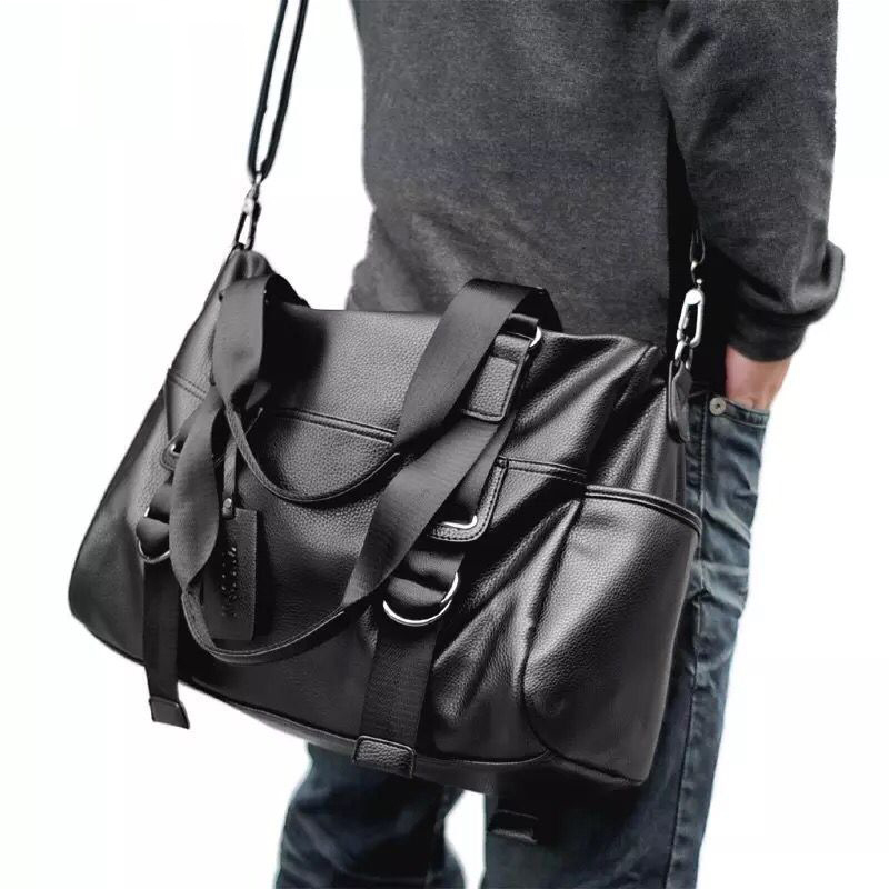 Fashion Travel Bag Leather Casual Men Handbag Big Tote Large Capacity Luggage Duffle Bag High Quality Male Black Shoulder Bags