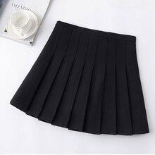 6cfb0898 Nueva cintura alta línea faldas Harajuku Lolita negro blanco gris vestido  de marinero falda Cosplay la escuela japonesa faldas u.
