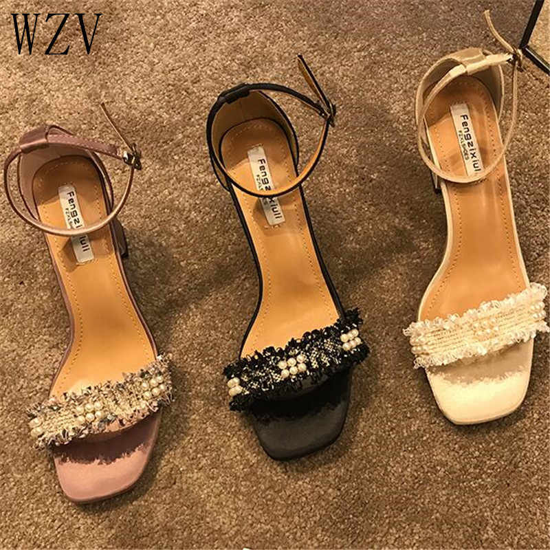 Summer Open Toe Pearl  Shoes Women Chunky High Heels 2019 Sexy Ankle Strap Heels Women Sandals Party Dress Elegant Sandals E901
