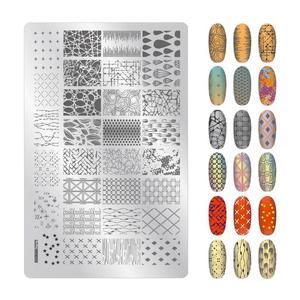 Image 5 - 1PCS גדול גודל גלי גיאומטריה אמנות Stamping Fowers תמונה ג ל נייל תבנית שבלונות מניקור בול כלי