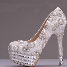 2016 Luxurious Prom Pumps Cow Split Party Show Shoes Pearl and Rhinestone Platform 2 Colors Wedding Shoes for Bridal