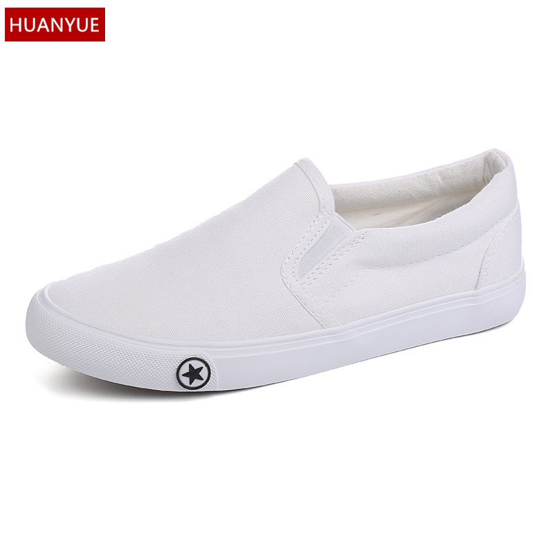 HUANYUE White Black Canvas Shoes Vulcanize New 2017 Fashion Women's Casual Shoes Lazy Slip On Breathable Footwear Spring D494