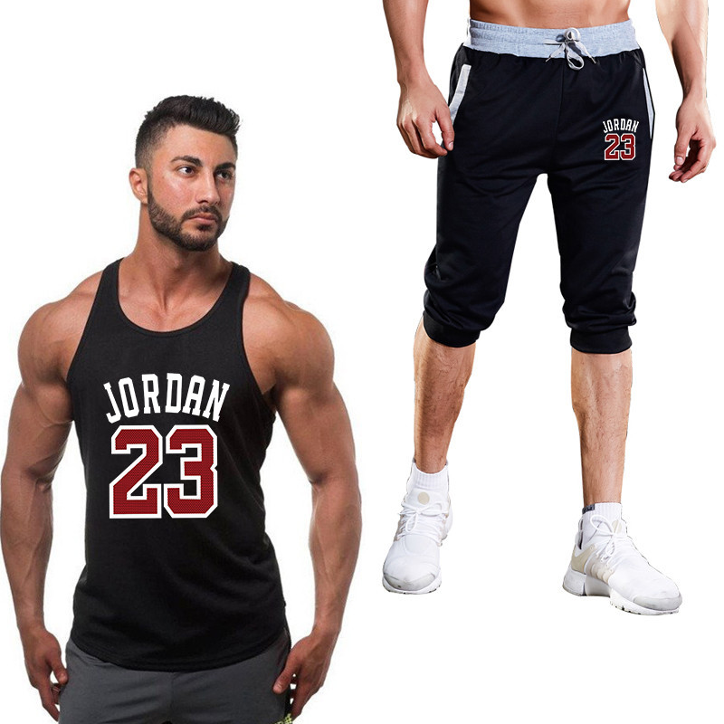 Men's Sportsw Clothing Sportswear Sports Vest + Shorts Men's Running Red Jordan 23 Printing Sport Suit Men Outdoor Jogging