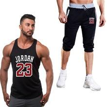 Мужская спортивная одежда Спортивная жилетка+ шорты Мужская Беговая красная Jordan 23 Печать Спортивный костюм для мужчин Открытый Бег