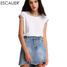 Escalier Fashion Solid O-Neck Polyester T-Shirts Women Tees