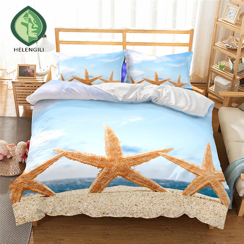 HELENGILI 3D Bedding set Starfish Print Duvet cover set lifelike bedclothes with pillowcase bed set home Textiles #2-06HELENGILI 3D Bedding set Starfish Print Duvet cover set lifelike bedclothes with pillowcase bed set home Textiles #2-06