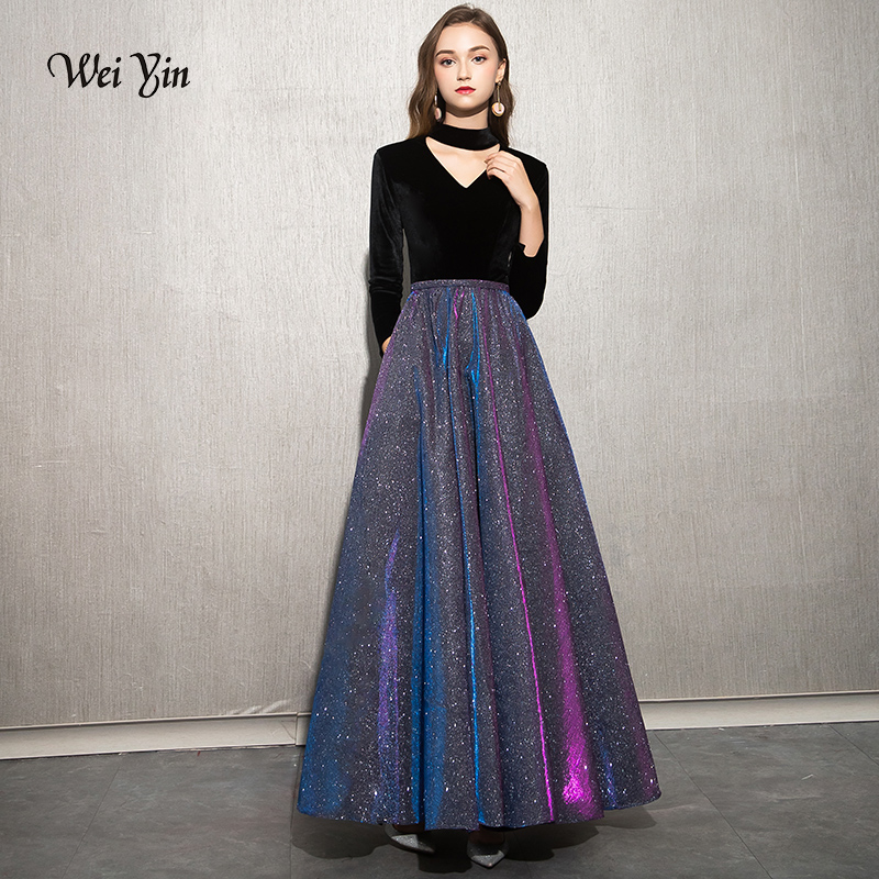 weiyin 2019 High-end   Evening     Dresses   The Bride Vintage Black Long Sleeve Velour with Satin Luxury Prom Party Gown WY1247