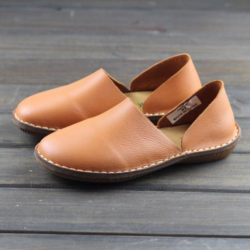 Women s Shoes slip on Loafers 100 Genuine Leather ladies Flat Shoes Hand made Women s