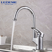 LEDEME Kitchen Faucet Brass Body 360 Degree Rotation Chrome Curved Outlet Pipe Tap Basin Plumbing Hardware