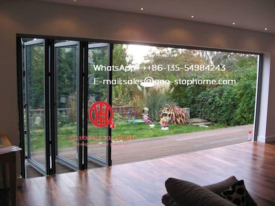 Heavy Duty Aluminum Front Folding Door Simple Design For Exterior,Aluminum Bi Folding Door,outside Fold Glass Door