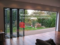Heavy duty Aluminum front folding door simple design for exterior,Aluminum bi folding door,outside fold glass door
