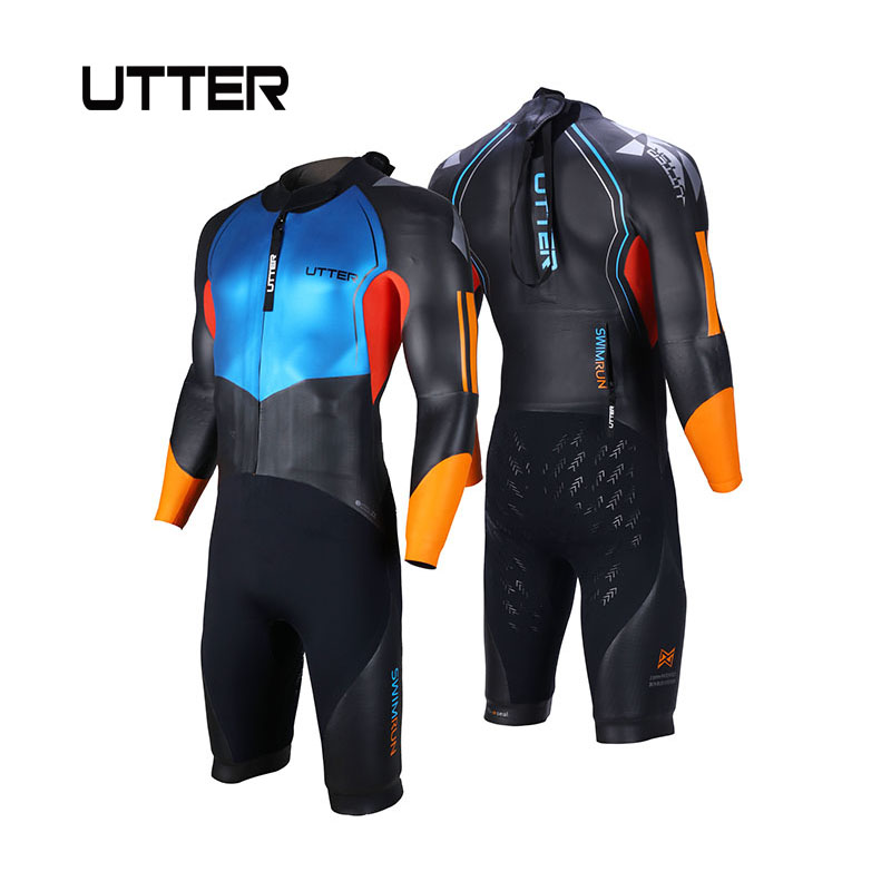 ad41e5ee3 UTTER Men Smooth Skin Swimrun Short Legs SCS Yamamoto Neoprene Swimsuit  Triathlon Suit Wetsuit for Surfing Watersports Swimwear
