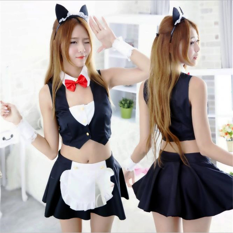 BOOCRE Anime Playful Rabbit Costumes Maid wear Sexy Uniform Catwoman Halloween Maid Clothing
