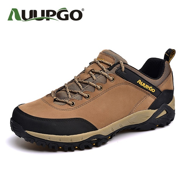 AUUPGO Waterproof  Men Casual Shoes Men Genuine Leather Shoes Damping Resistant Outdoor Shoes High Quality B2602