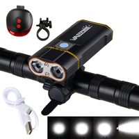 6000LM Rechargeable Handlebar Bike Light 2X XM L2 LED Front Bicycle Headlight With Built In 6000