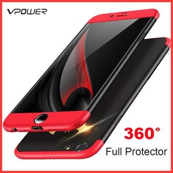 Pour iPhone 6 coque iPhone 6 Plus housse Vpower trois-en-un PC 360 coque de protection complète sans verre trempé pour iPhone 6 Plus