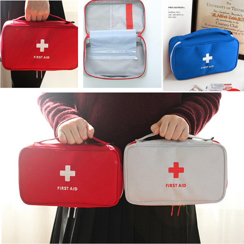 Empty First Aid Kit Outdoor Emergency Medical Box Portable Travel Camping Survival Medical Bag Big Capacity Handbag Home/Car