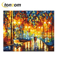 RIHE Evening Street Diy Painting By Numbers Park Lover Oil Cuadros Decoracion Acrylic Paint On Canvas Modern Wall Art