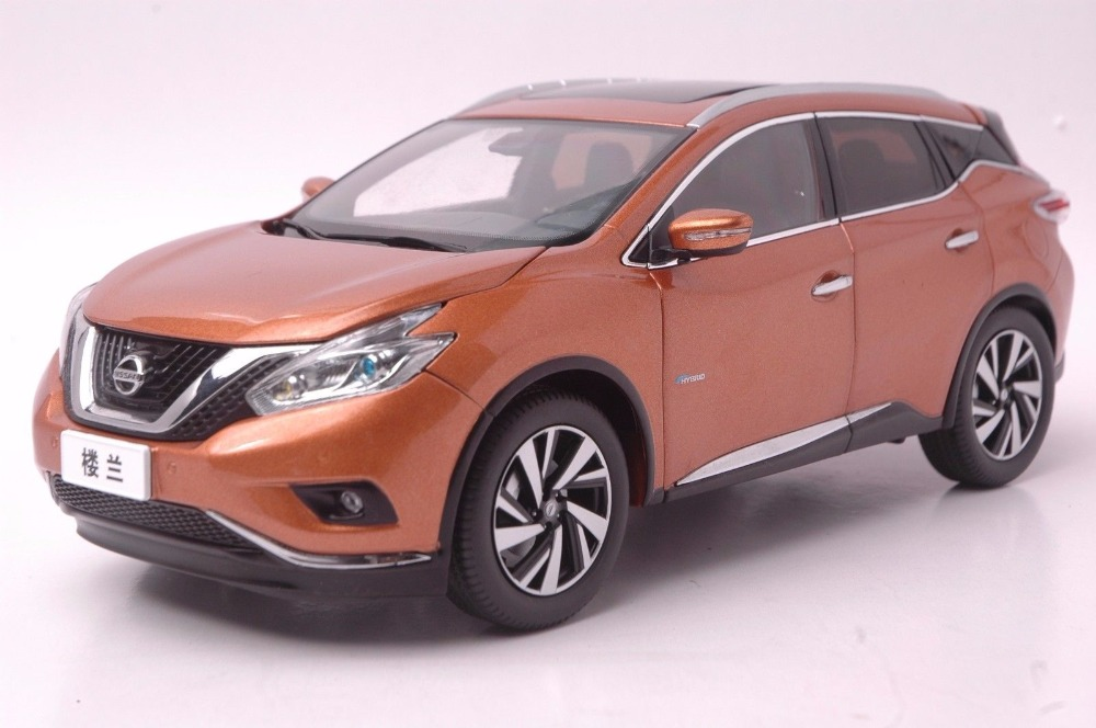 1:18 Diecast Model for Nissan Murano 2015 Gold SUV Alloy Toy Car Miniature Collection Gift Pulsar 2pc abs after the triangle decorate for nissan murano 2015