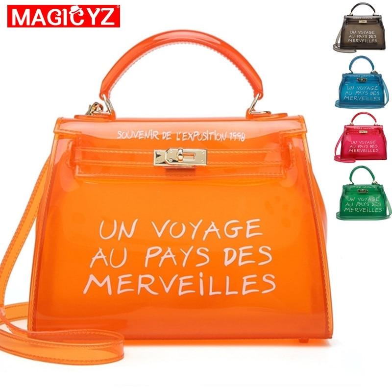 Clear Transparent PVC Women Messenger Bag Luxury Handbags Women Bags Designer Jelly Purse sac a main Bolsa Brand Leather Handbag messenger bag