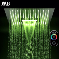 Multi Function Led Shower Heads 16'' Ceiling Colorful Rain SUS304 Rainfall & SPA Misty Massage Light Big Shower Waterfall