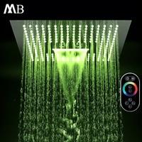 Multi Function Led Shower Heads 16'' Ceiling Colorful Rain SUS304 Rainfall & SPA Misty Massage Light Big Shower Waterfall