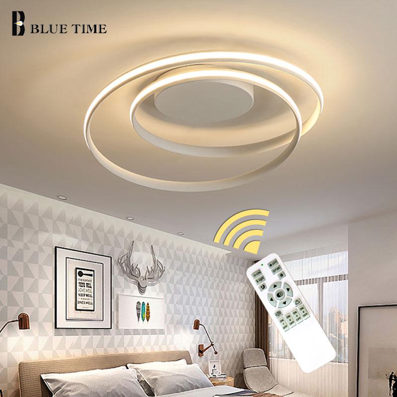 Simple Mode Moderne Led Lustre Pour Foyer salon Chambre Lampe AC110V 220 Plafond Lustre Éclairage Blanc et Noir Cadre