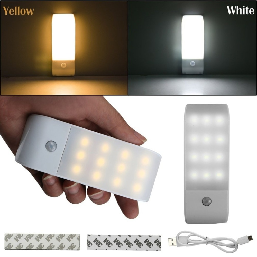 12 LED  5V PIR Infrared Stick-on Rechargeable Wardrobe Night Light USB Motion Detector Induction Sensor Closet Corridor Lamp