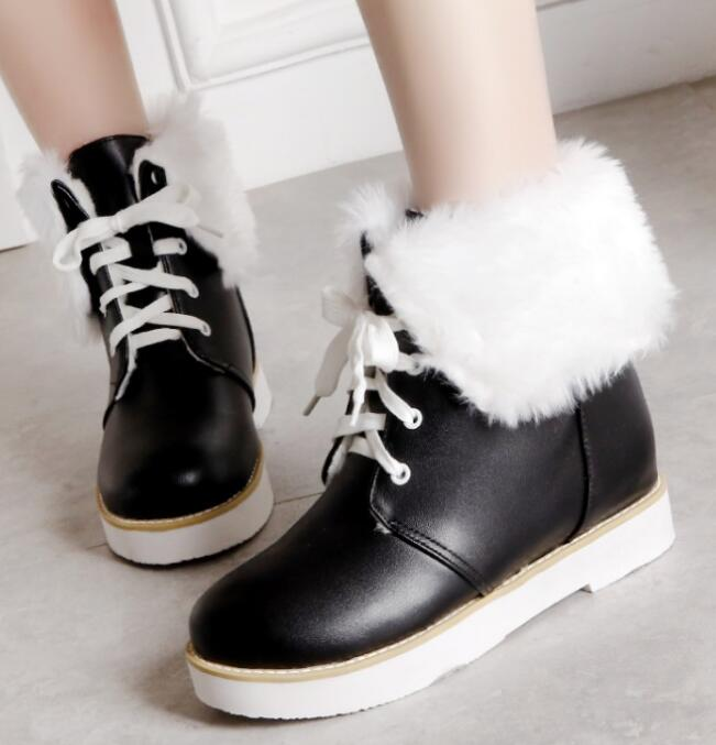 Feminino yellow Chaussures Dames Cheville Coin Mode White pink Lacets Casual D'hiver forme Plate Femmes Chaussure Sapato Neige G61262 black Femme Bottes À De nm0wNv8