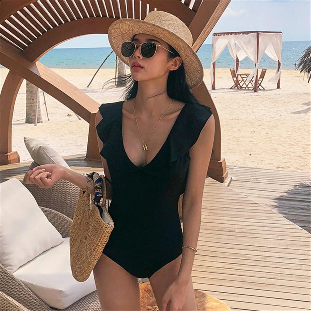 Image 3 - Ruffle One Piece Swimsuit Women Solid Swimwear Open Back Monokini Push Up Swim Suit Pad Bathing Suit Black Beachwear High Cut-in Body Suits from Sports & Entertainment