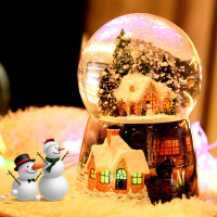 Glass LED Glow Ball Sphere Crystal Ball Creative Desktop Decoration Crafts Figurines Miniatures