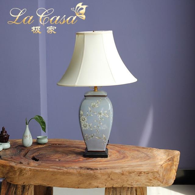 US $116.4 24% di SCONTO|TUDA 40X65 cm Trasporto Libero Glicine Lampada Da  Tavolo In Ceramica dipinta a Mano in Stile Country Americano Lampade Da ...