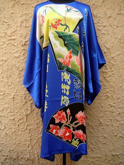 Горячие Продажа Китайский Стиль Шелковый Район Одеяние Платье Печати Женщины Пижамы Летом Случайные Рубашки Кафтан Ванна Платье Один Размер RB015