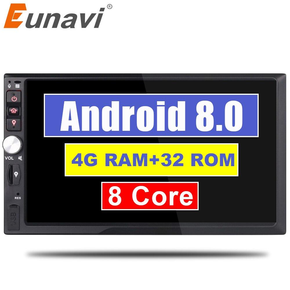 Eunavi 2 Din 7 ''Восьмиядерный Универсальный Android 8,0 4 ГБ Оперативная память автомобилей Радио Стерео gps навигации Wi-Fi 1024*600 Сенсорный экран 2din ПК авт...