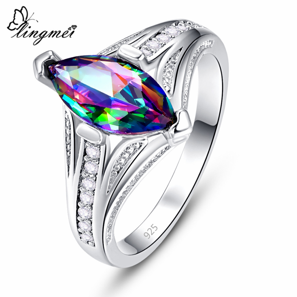 Lingmei обручальное кольцо Marquise Cut Multi & White & Red Zircon Silver ColorJewelry модное кольцо Размер 6 7 8 9 Подарок на годовщину|Кольца для помолвки|   | АлиЭкспресс