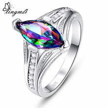 lingmei Engagement Marquise Cut Multicolor & White Red Zircon Silver Jewelry Fashion 925 Ring Size 6 7 8 9 Anniversary Gift
