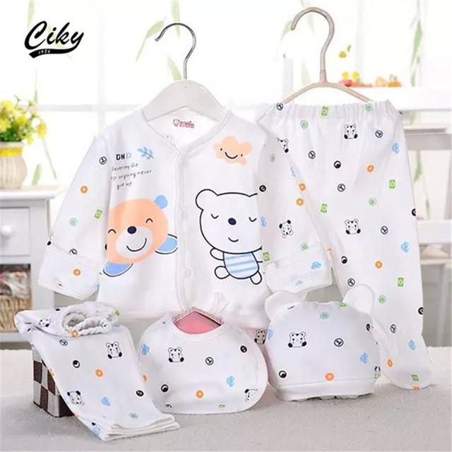 (5 pçs/set) Bebê Recém-nascido definir 0-3 M Conjunto de Roupas Menino/Menina Roupa do bebê 100% Algodão Roupa Interior dos desenhos animados B-003