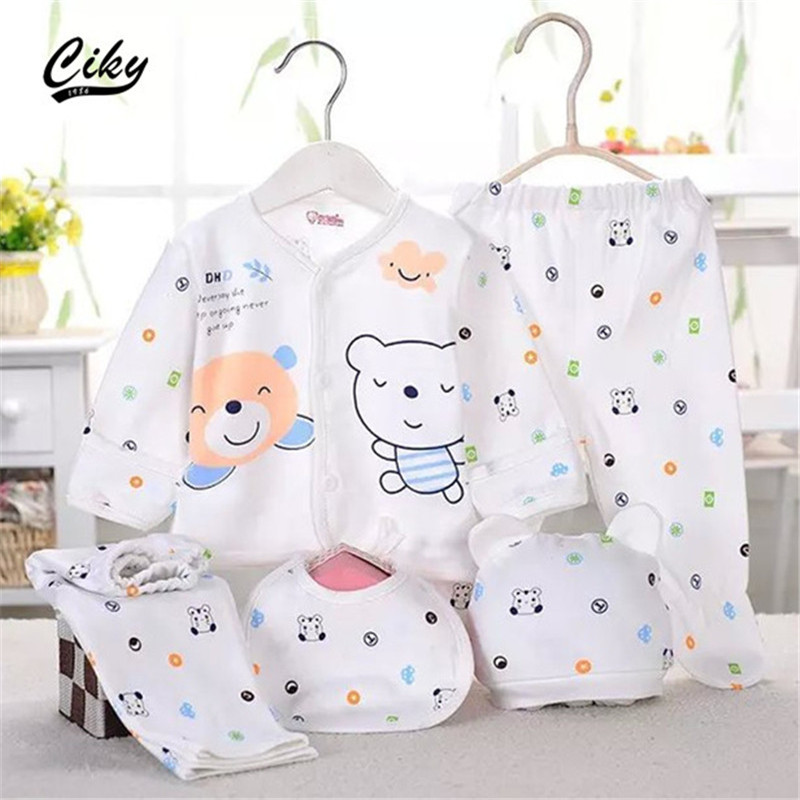 5pcs set Newborn Baby set 0 3M Clothing Set Boy Girl baby Clothes 100 Cotton