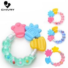 Chivry Newborn Baby Rattles Teether Toy Teeth Biting For Babies Rattle Toddler Bed Bell Silicone Handbell Jingle Cartoon Teether недорого