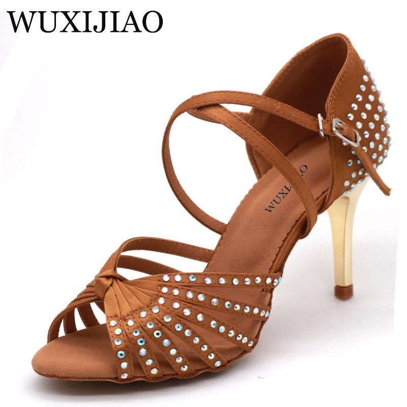WUXIJIAO Satin Upper Rhinestones Sandals Dance Shoes Latin Ballroom Shoes Women Gold Heel 85mm Girls Dance Shoes Latin