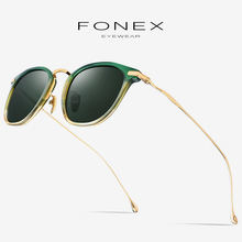 Acetate Pure B Titanium Polarized Sunglasses Men Brand Designer Mens Retro Vintage Square Male Sun Glasses for Women Shades 839