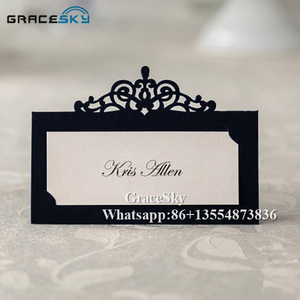US $12 31 12% OFF|50pcs hollow out Elegant Crown Table Name Place Seat  Paper Wedding Invitation Card for Party Table Decoration Marriage favors  -in