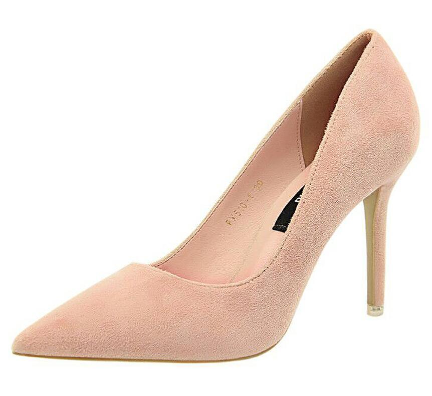 {D&Henlu}Women Shoe Purple Shoes Heel Woman Flock High Heels Women Pumps Ladies Office Shoes Pointed Toe Summer Heels 5