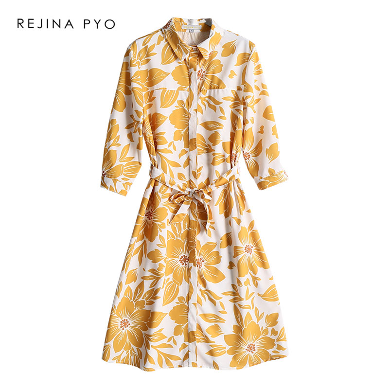 REJINAPYO Women England Style Sweet Yellow Floral Printed Shirt Dress Female Elegant High Waist Dress with Sashes New Arrival