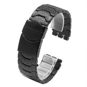 Image 2 - Correa de acero inoxidable 19mm negro plateado doble profundo Recesses correa de repuesto para reloj para Swatch YRS correa de reloj