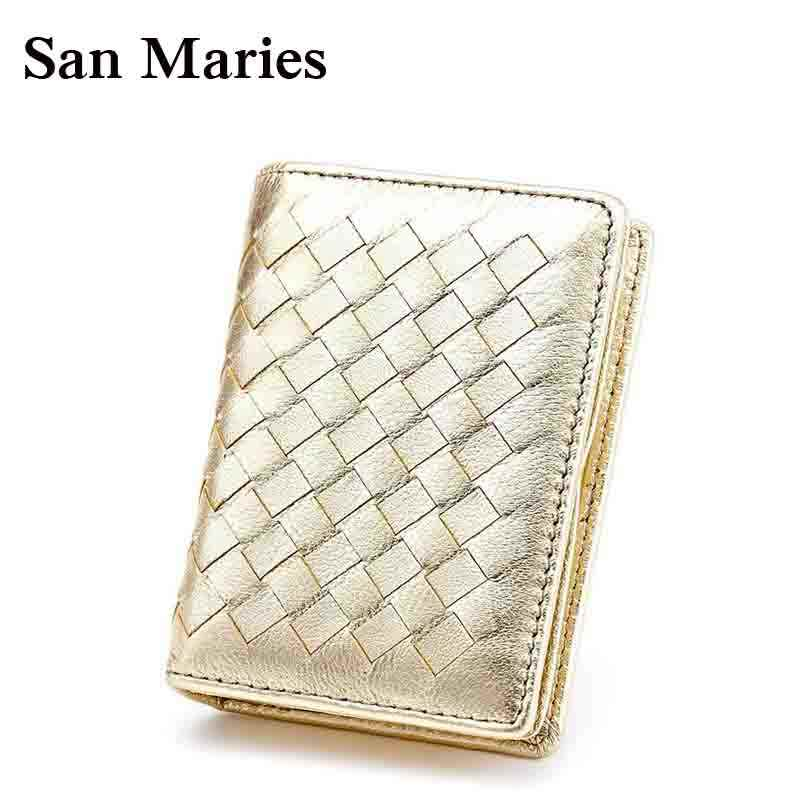 New Arrival Brand Men& Women Weave Wallets Fashion Sheepskin Genuine Leather Credit Card Holder Photo Bags Coin Purse
