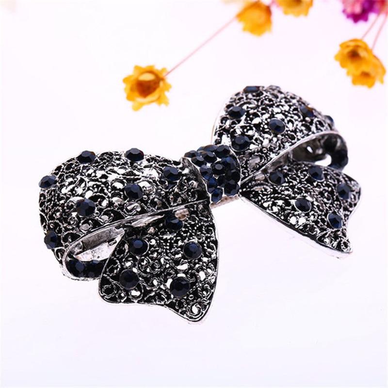 Trendy Version Alloy Hairpins for Female Womens Diamond Cute Black Bow Hair Accessories Hair Clip Ornaments Barrettes 9Z
